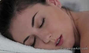 Free mobile porn - diminutive tittied playgirl receives creampie on massage table - 2160942 -
