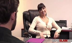 Sneaky cockwhore boss unfaithful to partner with younger wang