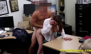 Foxy milf bargains with her whoppers and snatch