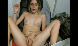 Sexy smoker doxy web camera amateur wife wench with pink fur pie does fuck talk
