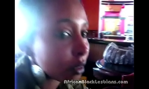 Slutty african chick tempted at restaurant by sista in non-professional scene