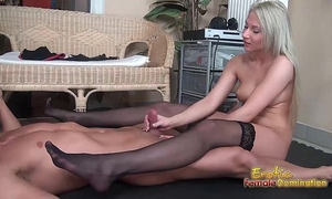 Stockinged footjob from a pantyless golden-haired