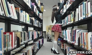 Schoolgirl in uniform wishes to bust your nut in the library