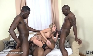 Hardcore bang double anal double penetration interracial spunk flow facial