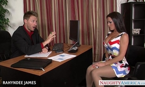 Babe in hose rahyndee james receives facialized