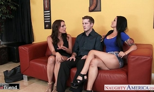 Gorgeous brunettes katrina jade and kayla west share schlong