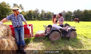 Let's fuck outside - cowgirls receives drilled by cowboy in outdoor threesome