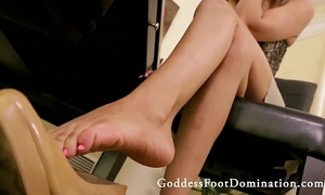 Office footboy with femdom-goddess athena