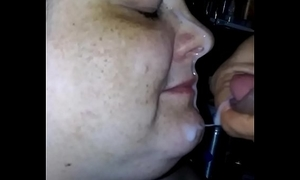 My girl engulfing my schlong and taking a facial