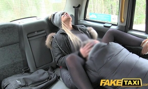 Fake taxi slutty wife desires drivers penis to keep her warm