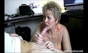 Naughty shorthaired blond milf with a immodest and cockhungry face hole