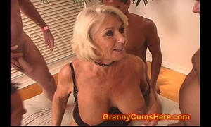 Granny acquires a gang gangbang and cum baths