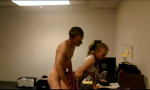 Amateur golden-haired schoolgirl copulates boss at work
