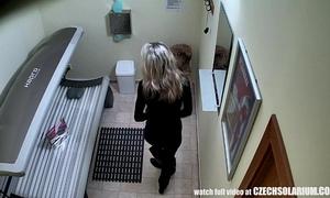 Blonde white women caught is solarium