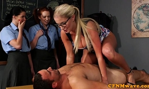 Cfnm sex education from the teacher for desirous gals