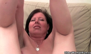 British mom julie with her large boobs and bushy bawdy cleft receives finger screwed