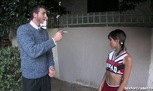 Tight cheerleader drilled hard by her teacher