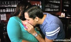 Plump bartender copulates chap waiter in nightclub