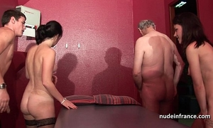 Young french honeys gangbanged and sodomized in 4some with papy voyeur