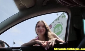 Teen hitchhiker drilled pov style outdoors
