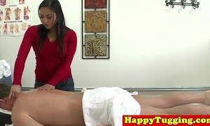 Real oriental masseuse jerks customer