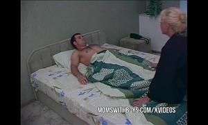Blonde aged waking stepson with a oral-job