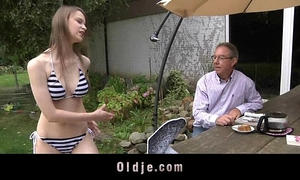Old guy acquires to fuck with a nice-looking juvenile dirty slut wife
