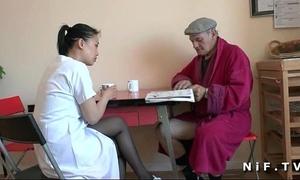 French old guy papy voyeur doing a juvenile oriental nurse