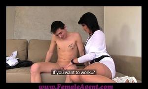 Femaleagent milf casts youthful nervous dude