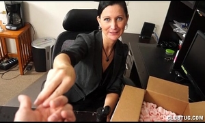 Sexy milf cook jerking at the office