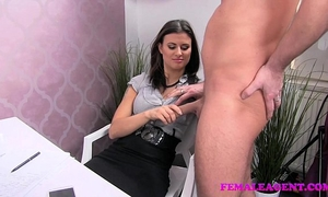 Femaleagent concupiscent dude craves to finish on hot agents outstanding milk shakes