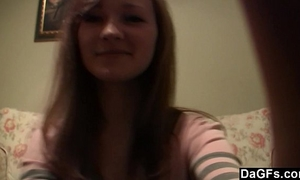 Young russian legal age teenager with a diminutive body teases on webcam