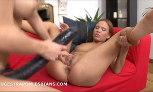 Abby has her constricted twat screwed by lilian and a biggest ding-dong sex toy
