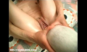 Gina jams a biggest object in her juicy cum-hole