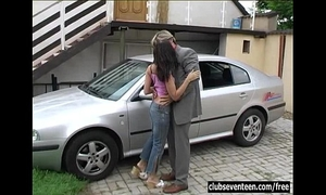 Brunette legal age teenager michelle receives screwed outdoors