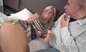 Sexy blond milf acquires screwed by dark ramrod in non-professional interracial movie