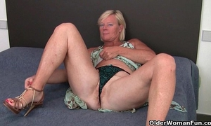 Grandma pushes a sex-toy up her butt and wet crack