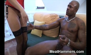 Naughty golden-haired engulfing a large hard rod