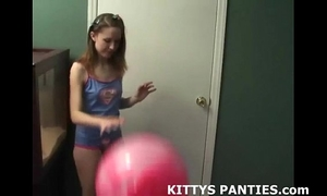 Innocent legal age teenager kitty flying her kite