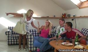 Blonde grandma swallows 2 large ramrods