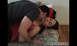 Amateur girlfriend with large tits sucks and copulates