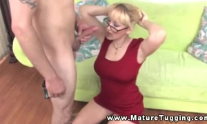 Hot golden-haired breasty milf tugging on weenie