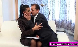 Clothed businesswomen orall-service