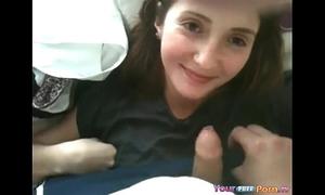 Shooting ball cream in this cute teenies face hole