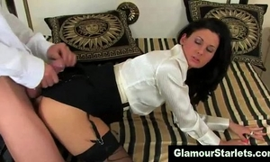 Fetish dressed playgirl receives a spunk fountain