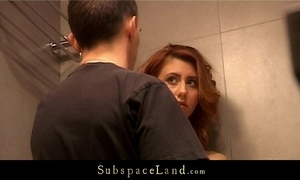 Redhead honey tiedup in the shower and drilled