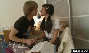 Pigtailed legal age teenager 1st anal experience with large weenie