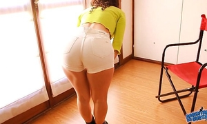 Perfect a-hole & cameltoe legal age teenager wearing g-string and taut short