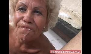Blonde grandma ella throat drilled