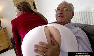 Teen dilettante glamour bonks old dude after engulfing